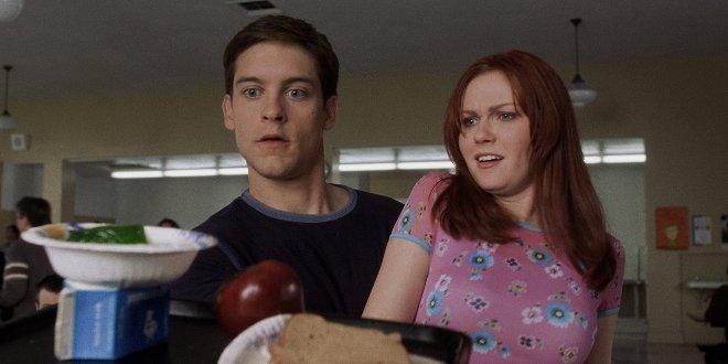 Tobey Maguire als Peter Parker mit Filmpartnerin Kirsten Dunst als Mary Jane Watson